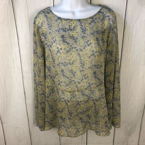 Uniqlo sheer floral blouse size XL